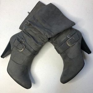 Apt 9 Grey Slouchy Tall Boots w/Heel & Buckles 9